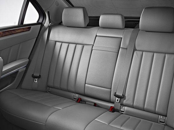 The Mercedes E Class Limo's grey leather rear-seats